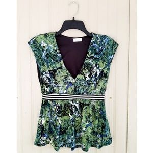 Maternity Blouse Top Shirt Green V-Neck Floral Hot